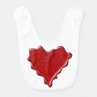 Erik. Red heart wax seal with name Erik Bib