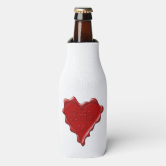 Erik. Red heart wax seal with name Erik Bottle Cooler