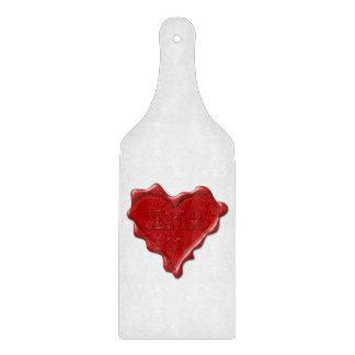 Erik. Red heart wax seal with name Erik Cutting Board