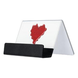 Erik. Red heart wax seal with name Erik Desk Business Card Holder