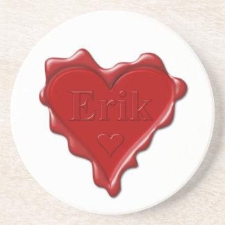 Erik. Red heart wax seal with name Erik Drink Coaster