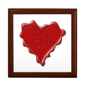 Erik. Red heart wax seal with name Erik Gift Box