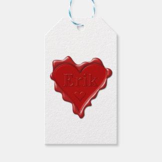 Erik. Red heart wax seal with name Erik Gift Tags