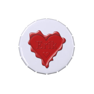 Erik. Red heart wax seal with name Erik Jelly Belly Tins