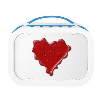 Erik. Red heart wax seal with name Erik Lunch Box
