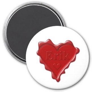 Erik. Red heart wax seal with name Erik Magnet
