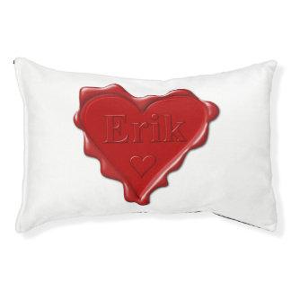 Erik. Red heart wax seal with name Erik Pet Bed