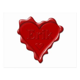 Erik. Red heart wax seal with name Erik Postcard