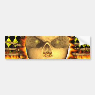 Erik skull real fire and flames bumper sticker des