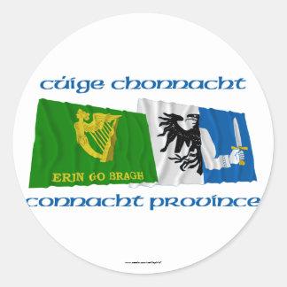 Erin Go Bragh and Connacht Province Flags Round Sticker