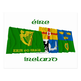 Erin Go Bragh and Four-Province Waving Flags Postcard