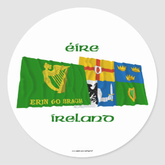 Erin Go Bragh and Four-Province Waving Flags Classic Round Sticker