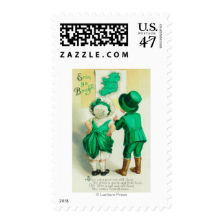 Erin Go Bragh Couple Looking at Ireland Map Postage