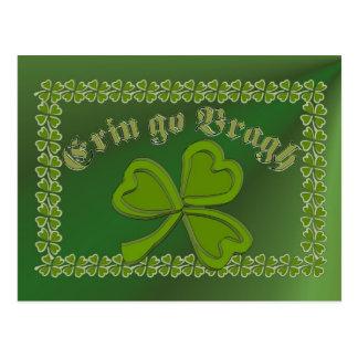 Erin go Bragh FetteFraD 2100X1500 sm SHAMROCK FRAM Postcard