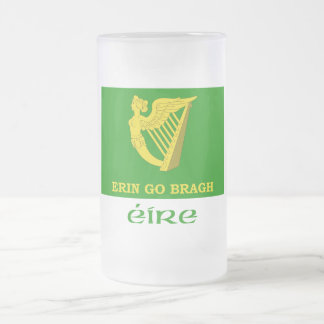 Erin Go Bragh Flag with Name 16 Oz Frosted Glass Beer Mug