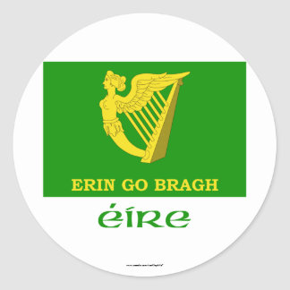 Erin Go Bragh Flag with Name Classic Round Sticker