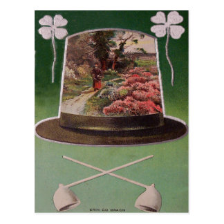Erin Go Bragh Four Leaf Clover St Patrick's Day Postcard
