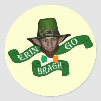 Erin go bragh funny  leprechaun classic round sticker