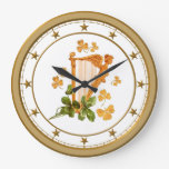 Erin Go Bragh Golden Harp Large Clock