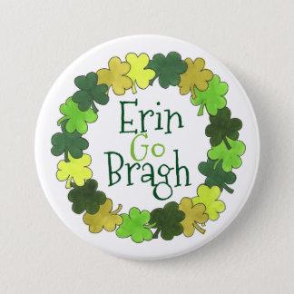 Erin Go Bragh Green Shamrock St. Patrick's Button