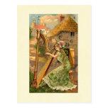 Erin Go Bragh Harp Woman Post Cards