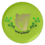 Erin Go Bragh Irish Harp Clover Irish Melamine Plate