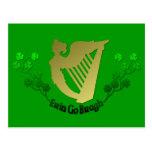 Erin Go Bragh Irish Harp Ireland clover Irish Postcard