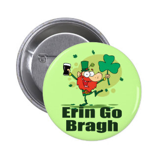 Erin Go Bragh Leprechaun with Stout 2 Inch Round Button