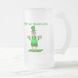 Erin Go Bragh Less Frosted Glass Beer Mug