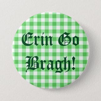 Erin Go Bragh! Saint Patrick's Day Green Gingham Pinback Button