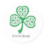 Erin Go Bragh shamrock with celtic knotwork Classic Round Sticker