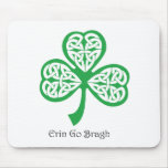 Erin Go Bragh shamrock with celtic knotwork Mouse Pad