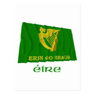 Erin Go Bragh Waving Flag with Name Postcard