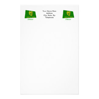 Erin Go Bragh Waving Flag with Name Stationery