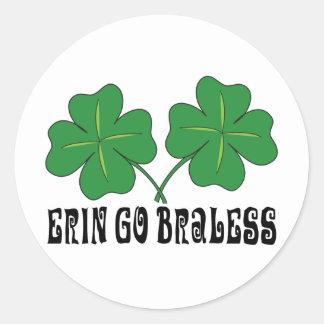 Erin Go Braless Classic Round Sticker