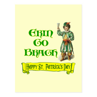 Erin Go Braugh Happy St. Patrick's Day Saying Postcard