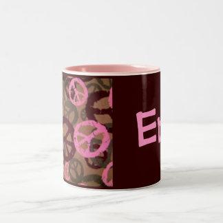 Erin-Name Style Mug-Peace Signs Design Two-Tone Coffee Mug