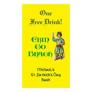 Erin va boleto libre de la bebida del tarjetas de visita