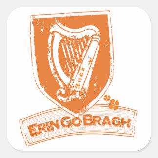 Erin va Bragh (el naranja de la arpa) Calcomanías Cuadradas