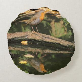 Erithacus rubecula round pillow