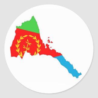 Eritrea country flag map shape silhouette classic round sticker