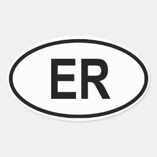 """Eritrea """"ER """" Pegatina Ovalada"""