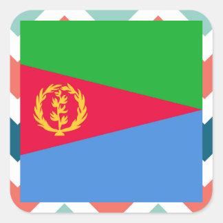 Eritrea Flag Box on Colorful Chevron Square Sticker