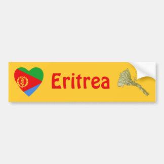 Eritrea Flag Heart + Map Bumper Sticker