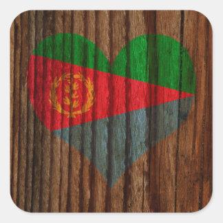 Eritrea Flag Heart on Wood theme Square Sticker