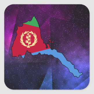 eritrea Flag Map on abstract space background Square Sticker