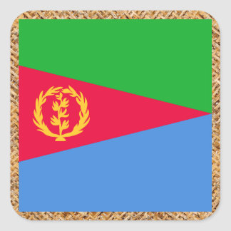 Eritrea Flag on Textile themed Square Sticker