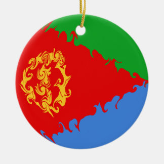 Eritrea Gnarly Flag Double-Sided Ceramic Round Christmas Ornament