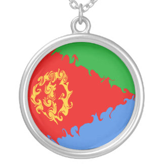 Eritrea Gnarly Flag Silver Plated Necklace