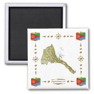 Eritrea Map + Flags Magnet